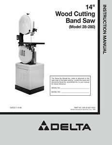 Delta 14 Wood Cutting Band Saw 28 203 28 243 28 245 28 283 Owners Manual