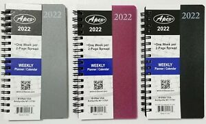 2022 Weekly monthly Pocket Size Spiral Planner Vinyl Cover 3 1 2 In X 6 1 4 In