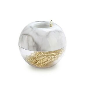 Multibey Gold Paper Clips In Elegant Magnetic Marble White Clip Holder 2 New