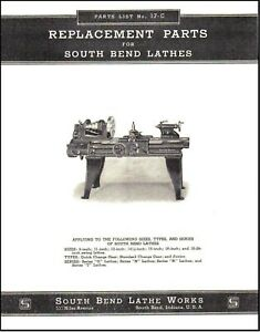 South Bend Lathe No 17 c Parts List Series O N R And T 1937 Sb19