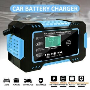 Portable Smart Car Battery Charger Automatic Pulse Repair 12v Agm Gel Motorcycle