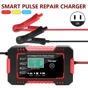 Smart Automatic Car Battery Charger 12 24v 6a Touch Screen Pulse Repair Agm Gel
