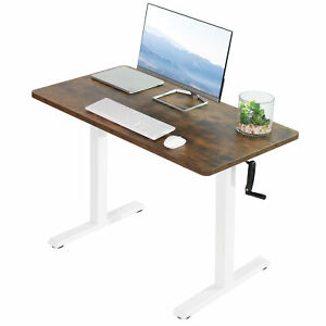 Vivo Manual 43 X 24 Stand Up Desk Vintage Brown Table Top White Frame