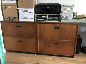 Solid Teak 4 Drawer Lateral File