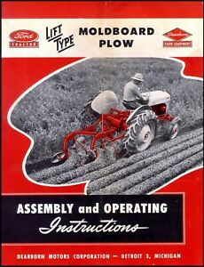 Ford Tractor Lift Type Moldboard Plow Assembly And Operating Instructions Ft38