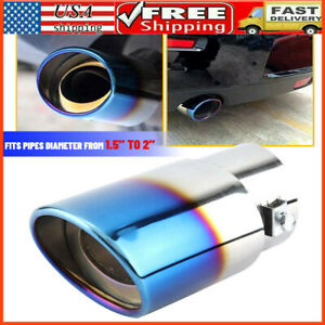 Car Auto Blue Rear Exhaust Pipe Tail Muffler Tip Throat Tailpipe Auto Parts