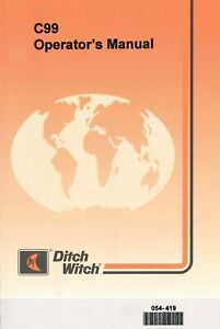 Ditch Witch C99 2800rpm 8 1hp Rotary Mower Operator Instruction Maint Manual