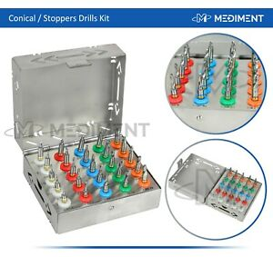 Dental Implant Conical Drills Kit 25 Pcs With Stoppers Surgical Tools
