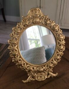 Antique Beautiful Easel Style Ornate Gold Framed Oval Mirror 13 1 4 X 10 5 8