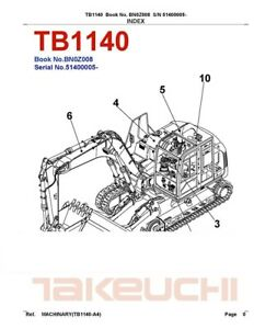 Tb1140 Compact Excavator Parts Manual sn 51400005 And Up Takeuchi