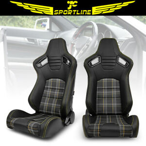 Universal Pair Reclinable Racing Seat Dual Slider Puampcarbon Leather Yellow Plaid