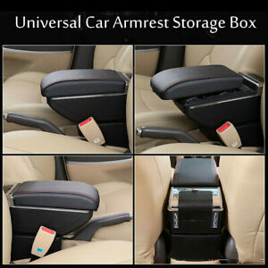 Universal Leather Car Center Cnsole Armrest Storage Container Box W 7 Usb Ports