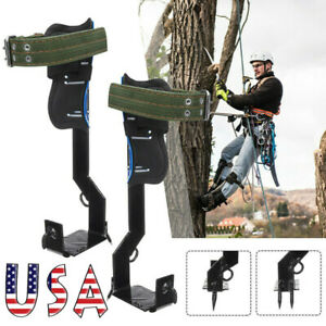 Adjustable 2 Gears Tree Climbing Spike Set Safety Lanyard Rope Rescue Belt Usa