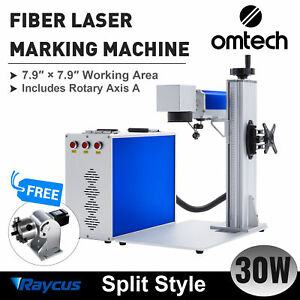 Omtech 30w 8x8 In Fiber Laser Marking Machine For Metal With Rotary Axis A