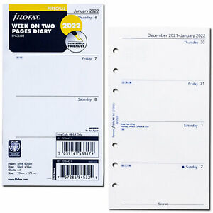 2022 Filofax Personal Size Refill 22 68421 Week On Two Pages 95mm X 171mm