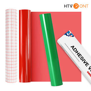 Sign Vinyl Rolls 12 x5ft Permanent Adhesive Glossy Red Green Transfer Tape