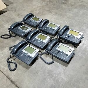 Lot Of 7 Cisco Cp 7960g Unified Ip Phones Used