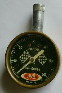 Vintage Accu Gage Tire Pressure Gauge 0 60 Psi With Checkered Flags Tested Usa