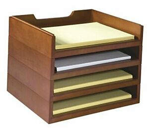 Stacking Wood Desk Organizers With 4 Letter Tray Kit wk6 ch Cherry