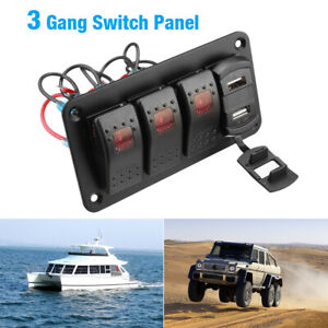 4 Gang Toggle Rocker Switch Panel With Dual Usb Car Boat Marine Rv Truck Red Led
