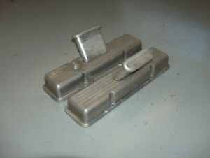 Vintage Sb Chevy Finned Aluminum Valve Covers W Tall Offenhauser Breathers 6156