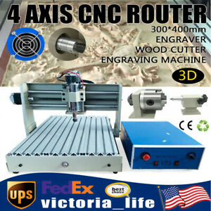 3040 Cnc 4 Axis Router Engraver Wood Pcb Carving Milling Engraving Machine 400w