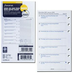 2022 Filofax Personal Size Refill 22 68409 Week On One Page With Notes