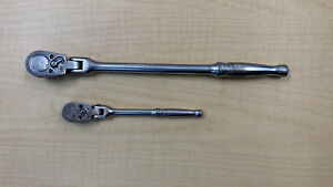 Vintage Two Snap On Tm831 And F711a Flexible Head Ratchet 1 4 And 3 8 Drive