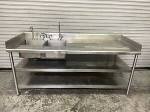 79x31 Stainless Drink Station Sink Prep Work Table 2 Compartment Faucets 6464