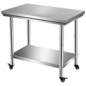 Rolling Stainless Steel Top Kitchen Restaurant Work Table Cart Casters Shelf