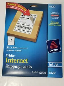 Avery Inkjet Shipping Labels 5 50 Width X 8 50 Length 50 Pack 8126