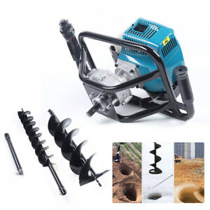 52cc Gas Powered Ground Post Hole Digger Earth Auger Borer W 4 8 Drill Bits