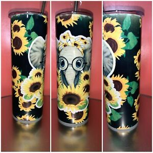 20 oz Sunflowers and Elephant tumbler for hot or cold beverages $30.00