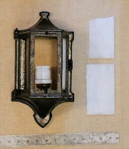 Antique Arts Crafts Tudor Stained Slag Glass Porch Lantern Wall Sconce Cast Iron