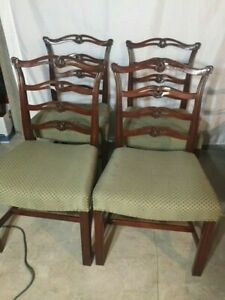 Chippendale Style Vintage 1930 S Carved Mahogany Ribbon Back Chairs Set Of 4