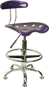 Flash Furniture Low Back Polymer Drafting Stool With Tractor Seat Vibrant Violet