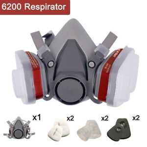 7in1 Half Face Gas Mask Spray Painting 6200 Respirator Safety Reusable