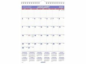 At a glance 2022 11 X 8 Wall Calendar Small White purple red Pm1 28 22