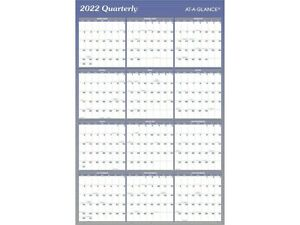 At a glance 2022 36 X 24 Yearly Calendar Reversible Blue A1102 22