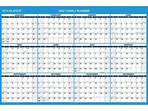 At a glance 2022 32 5 X 48 5 Yearly Calendar White blue Pm300 28 22