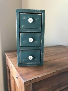 Apothecary Cabinet Spice Box Vintage Chest 3 Drawer Primitive Green Paint Wood