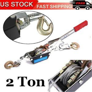 2 Ton Hand Puller Heavy Duty Winch Pull Hoist Come Along Cable Lever W 2 Hooks