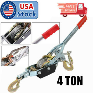 4 Tons 8800lbs Hook Come A Long Winch Hoist Hand Cable Puller Lever Durable Tool