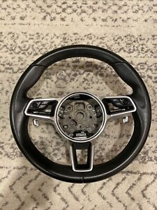 Porsche Macan Gts Black Leather Steering Wheel Paddle Shift Controls Oem