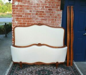 Antique French Walnut Upholstered Louis Xv Full Size Bed Rails New Upholster