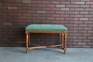 Antique French Bench Tapestry Upholstered Carved Wood Frame Bench Seat