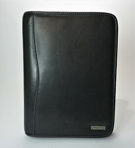 Franklin Covey Black Leather Binder Zip Around Planner Day Timer Classic Size