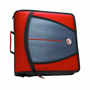Case it Mighty Zip Tab O ring Binder Red 3 Inches