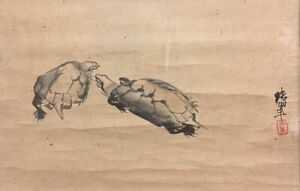 Japanese Painting Hanging Scroll Japan Old Turtle Antique Art E023