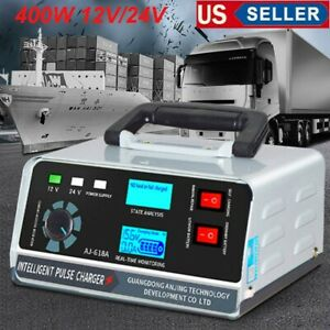 400w Heavy Duty Smart Car Battery Charger Automatic Pulse Repair Trickle 12v24v